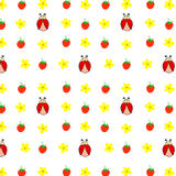 Seamless pattern hand drawn ladybird, yellow daisies camomiles strawberries, kids fabric, quilting, tapestry, wrapping paper. Design Stock Image