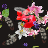 Seamless floral bouquet on black background Stock Photos