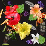 Seamless floral bouquet on black background Royalty Free Stock Photo