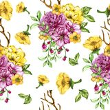 Pink and yellow seamless pattern royalty free illustration