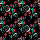 Seamless floral bright abstract pattern on black vector illustration