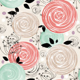 Seamless floral bright abstract pattern on striped Stock Image