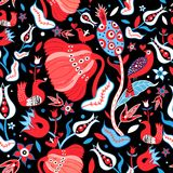 Seamless floral bright pattern. Seamless floral pattern with enamored birds on a dark background Stock Photo
