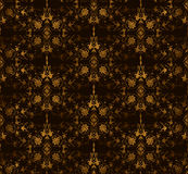 Seamless floral on a brown background. Vector Stock Photo