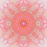 Seamless floral circle ornament orange pink violet. Abstract geometric seamless background. Floral circle ornament in orange, pink and violet shades with bright stock illustration