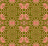 Seamless floral circle ornament pink blossoms on olive green with brown. Abstract geometric seamless background. Floral circle ornament with pink blossoms on Royalty Free Stock Photos