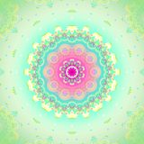 Seamless floral circle ornament pink and pastel green. Geometric seamless background. Concentric circle ornament, abstract blossom in pink, violet, orange, light Royalty Free Stock Photo