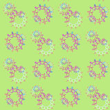 Seamless floral circles pattern light green pink violet purple blue white Stock Photos