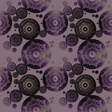 Seamless floral circles pattern purple gray shiny. Abstract geometric background, seamless floral circles pattern in purple, green and gray shades on lilac royalty free illustration