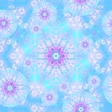 Seamless floral circles pattern turquoise blue pink violet. Abstract geometric background, seamless floral circles pattern light blue, turquoise, pink and violet Royalty Free Stock Photos