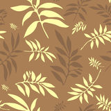 Seamless floral coffee background. With carved leaves (vector royalty free illustration