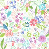 Seamless Floral colorful hand drawn pattern.