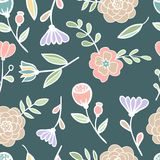 Seamless floral colorful pattern Vector. Seamless floral pattern Vector illustration hand drawn Royalty Free Stock Photography