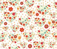 Seamless floral pattern with hearts Stock Image
