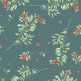 Seamless floral cowberry pattern Royalty Free Stock Image