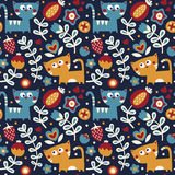 Seamless floral cute spring pattern made with flowers, cats, plants, strawberry, cherry, berries, leaves, nature, summer Stock Images