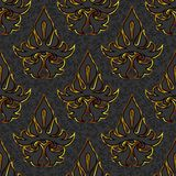 Seamless floral damask black, gold background Royalty Free Stock Image