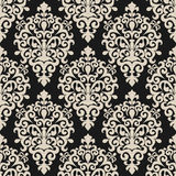 Seamless floral damask Wallpaper on dark Background for Design Stock Photo