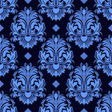 Seamless Floral Damask Wallpaper In Blue Colors