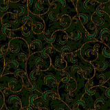 Seamless Floral Dark Green Damask Pattern Background