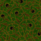 Seamless floral dark green damask pattern background Stock Photos