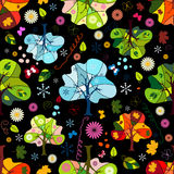 Seamless floral dark pattern Stock Photos
