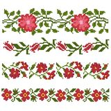 Floral decorative elements. Seamless floral decorative elements, flowers and branch, embroidery royalty free illustration