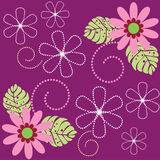 Seamless floral design. Seamless floral pattern decorated with flowers, leaves and spirals stock illustration