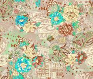 Seamless floral design with background texture. Backgroundn royalty free illustration