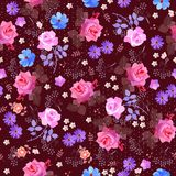 Seamless floral ditsy pattern with roses, bell, cosmos and umbrella flowers, daisy, leaves and polka dots on purple background. vector illustration