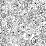 Seamless floral doddle pattern and cucumbers. Royalty Free Stock Images