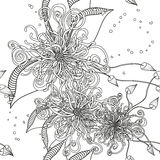 Seamless Floral Doodle Background Pattern with Leaves. Design  z Royalty Free Stock Photo