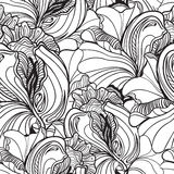 Seamless floral doodle background pattern in vector with fancy f Royalty Free Stock Photos