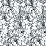 Seamless floral doodle background pattern in vector with fancy f Stock Photos