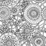 Seamless floral doodle black and white background