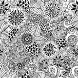 Seamless  floral doodle black and white background Stock Images