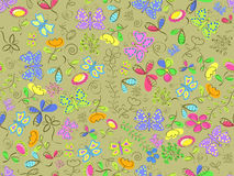 Seamless floral doodle pattern Stock Image