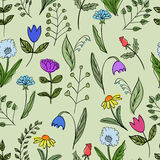 Seamless floral doodle pattern. Royalty Free Stock Photography