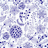 Seamless Floral Doodle Pattern Royalty Free Stock Image