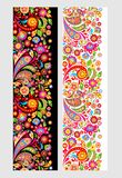 Seamless floral ethnic borders with colorful abstract flowers. And paisley vector illustration