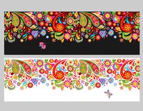 Seamless floral ethnic borders with colorful abstract flowers on white and black backgrounds. Seamless floral ethnic borders with colorful abstract flowers and royalty free illustration