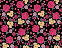 Seamless floral flower pattern with black background stock illustration