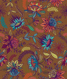 Seamless  floral folk pattern. Seamless floral pattern with imaginary folk flowers and plants, detailed line art illustration with intense colors.  illustration Stock Photography