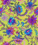 Seamless  floral folk pattern. Seamless floral pattern with imaginary folk flowers and plants, detailed line art illustration with intense colors.  illustration Royalty Free Stock Photos