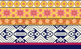 Seamless floral geometric border vector illustration