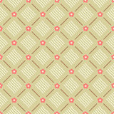 Seamless floral geometric pattern vector with coral pink flowers brown lines and beige wavy ornaments retro design background Royalty Free Stock Photos