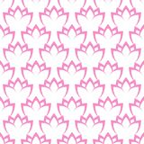 Seamless floral geometric pattern. White lilies on a pink background. Vector seamless floral geometric pattern. White lilies on a pink background Stock Image