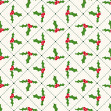 Seamless floral geometrical pattern with ilex. Christmas and new year style Stock Images