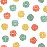 Seamless floral geometrical pattern. Small flowers, Polka dot royalty free illustration