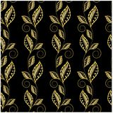 Seamless floral gold on black pattern Royalty Free Stock Image